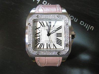 【愛錶回春中心】( 專業代鑲鑽石..請自備錶, )~Cartier Santos 100中型. 44x35mm