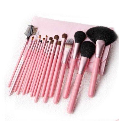 【愛來客 】Cerro Qreen 粉紅色天然動物毛18支專業級化妝刷具組彩妝