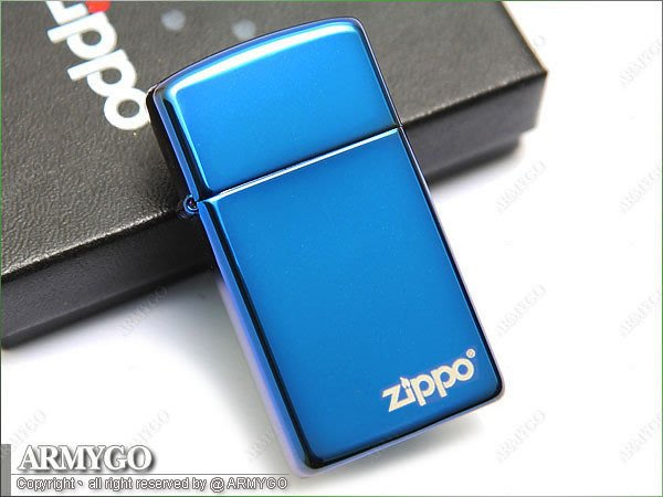 【ARMYGO】ZIPPO原廠打火機-藍色鏡面-No.20494ZL (窄版) (LOGO款)