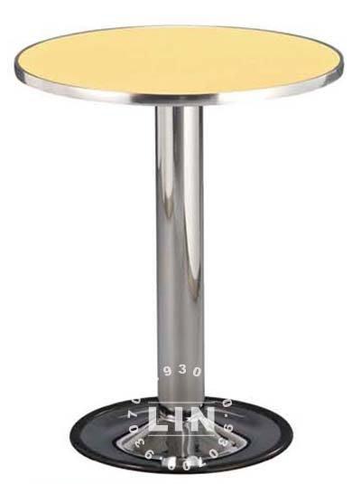 【品特優家具倉儲】R108-01餐桌302電鍍圓盤鋁框圓桌洽談桌