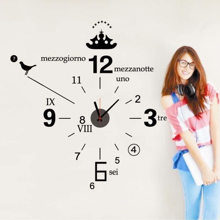 墻貼掛鐘 含靜音鐘芯 現代時尚創新鐘表 簡易DIY貼畫時鐘 數字鐘igo
