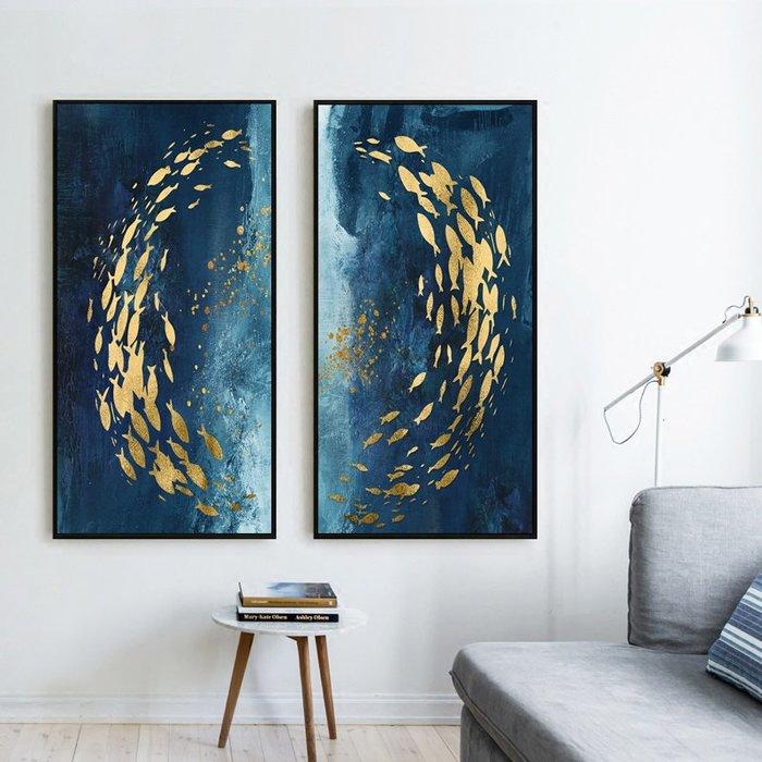 北歐輕奢現代客廳沙發背景裝飾畫畫芯過道玄關抽象掛畫金色游魚(2款可選)