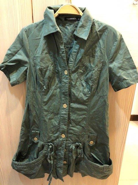 小花別針、專櫃品牌【EPANOUIR】軍綠色長版帥氣襯衫式外套