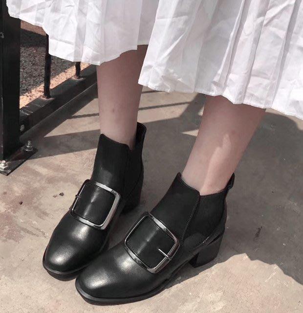 SeyeS  {韓國空運} 個性英倫歐美時尚搖滾大扣環短靴