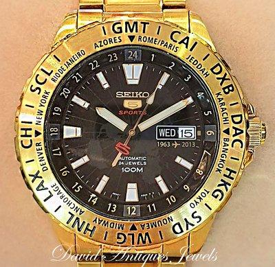 ((天堂鳥)) 新品刊登 超美金色款 SEIKO5 cal.4R36 精工 50週年紀念版運動自動男錶