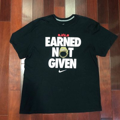 [RiggaLAB] NIKE LEBRON EARNED NOT GIVEN 2012 總冠軍 黑 短 TEE