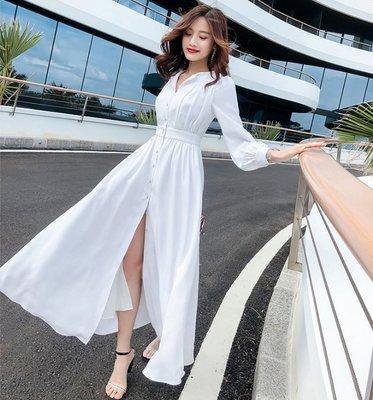長袖長款雪紡洋裝V領白色中高腰長裙長款...