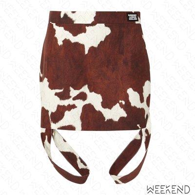 【WEEKEND】 BURBERRY Strap Animal 斑紋 切割 裙子 短裙 棕+白色 19春夏 秀款