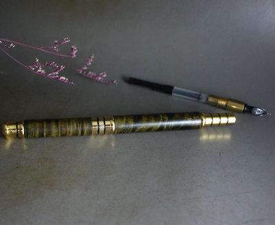金絲楠木 極品 陰沈木- 原子筆+ 鋼筆-  閃電360度爆滿水波  實品漂極了**  P15