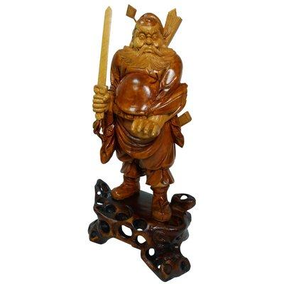 大陸溫州早期黃楊木雕刻品(仿古漆) -驅魔真君鍾馗帝君1入 (B-102-07) 免運費