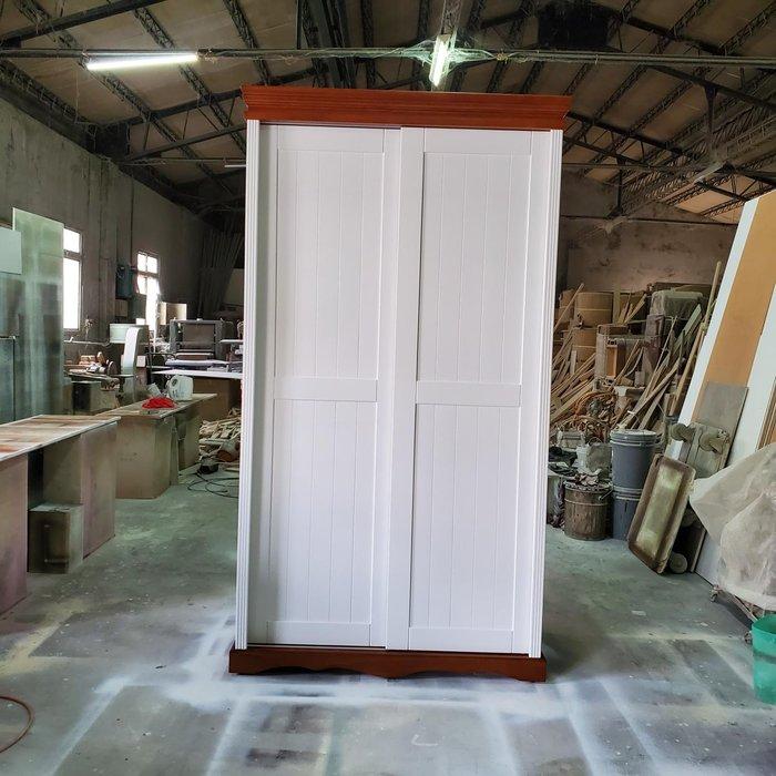 美生活館 全新 美式鄉村風格 客訂 全實木 雙推門 雙色 衣櫥 /衣櫃 收納櫃 也可修改尺寸顏色再報價