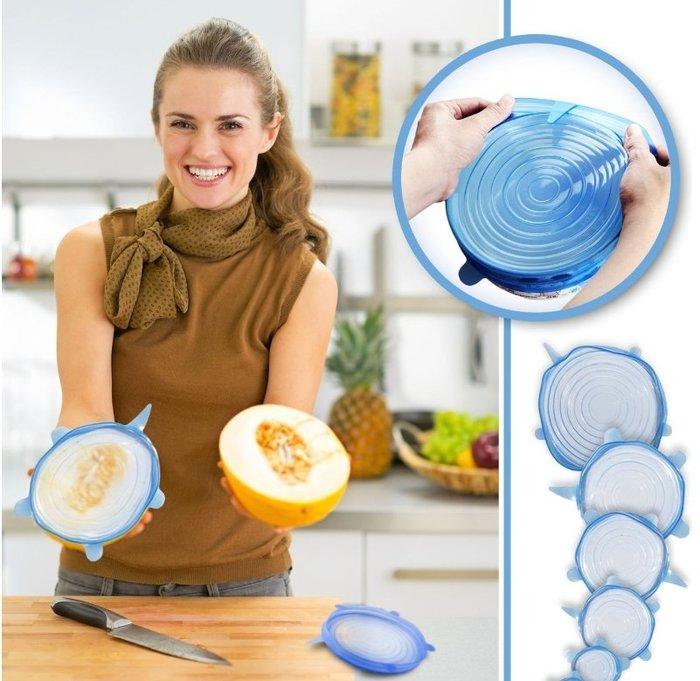 環保彈性矽膠N次保鮮膜 矽膠食物保鮮密封蓋 六件組 多功能碗蓋冰箱食物矽膠保鮮蓋