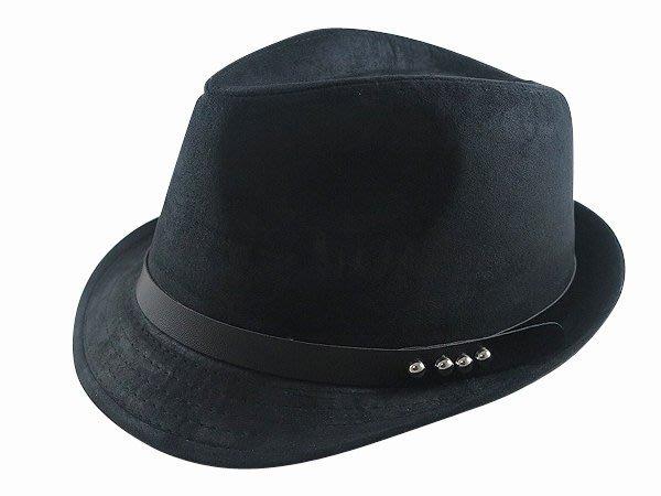 ☆二鹿帽飾☆ 秋冬限定紳士帽/ 男帽女帽 -流行(4鉚釘黑皮帶)緞帶設計羊毛爵士帽-紳士帽-黑色