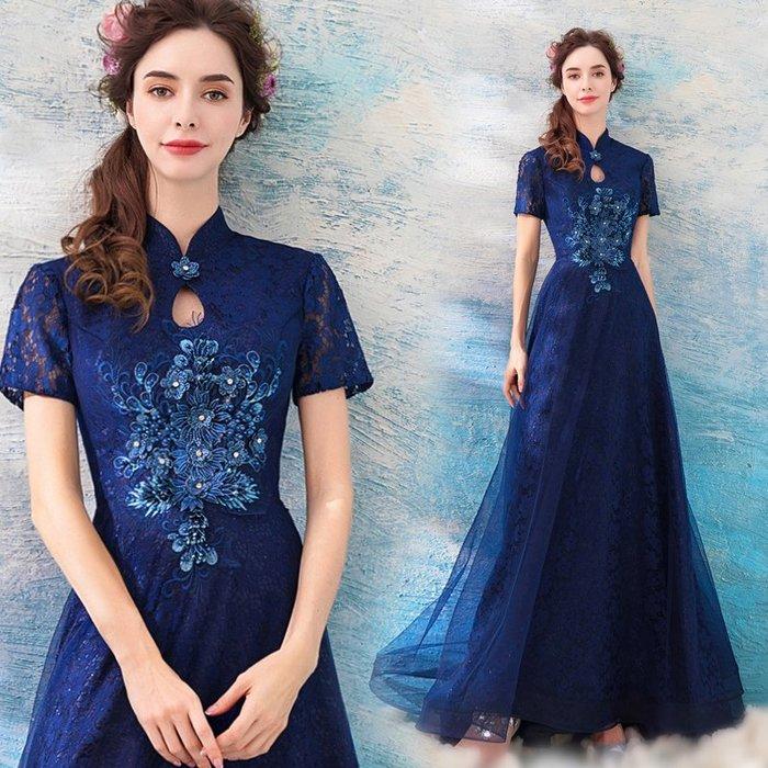 新年婚禮禮服婚紗禮服宴會禮服藍色中式中國風宴會年會演出主持人婚紗晚禮服裙批發