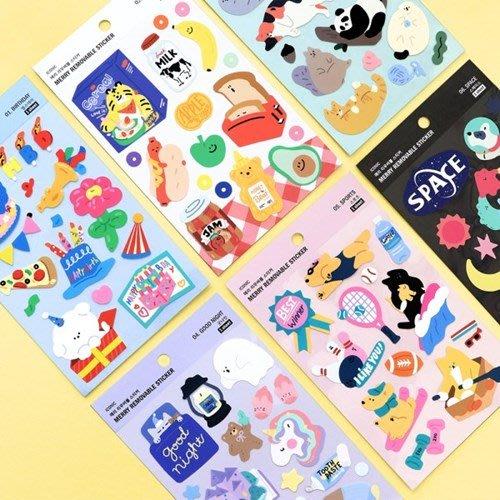 好心情日韓正品雜貨『韓國 ICONIC』MERRY STICKER 可愛圖案防水無痕裝飾貼紙 (6款)