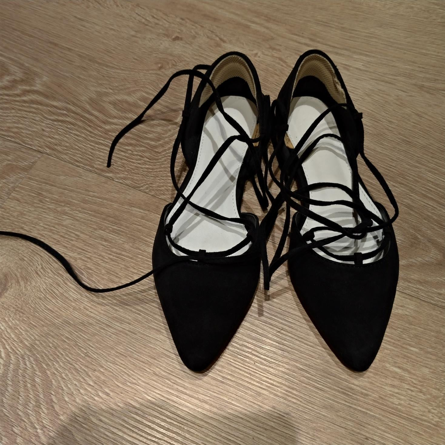 [綁帶鞋] fm shoes 時尚綁帶尖頭平底包鞋 / 羅馬鞋