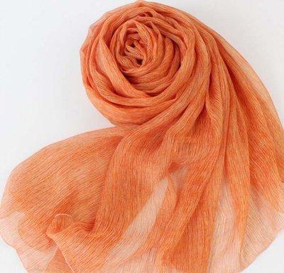 【賣旗袍的小丫頭】-Berryear橘色褶皺真絲絲巾 夏季百搭新款長款桑蠶絲圍巾 披肩SC240