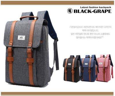 韓系磨砂料學院雙扣電腦後背包 / 筆電包 【B207】黑葡萄包包