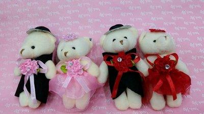 (花花手作材料)編號P03-1--------12公分禮服情侶婚紗鑲鑽對熊--11對45元