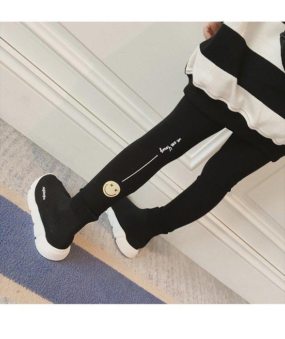 【溜。溜。選物】早買早優惠*新款*小童字母笑臉印花休閒長褲 打底褲