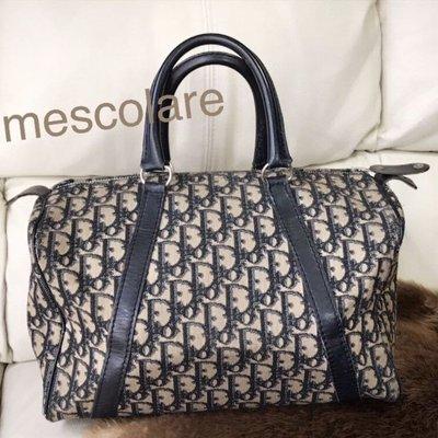 售罊mescolare二手精品正品Christian Dior vintage經典提花Logo內裡真皮波士頓包老花包手提包