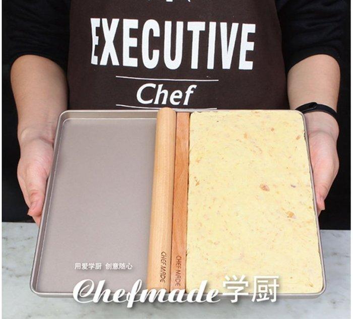 Amy烘焙網:學廚重型鋼不沾牛扎糖盤三件套/12寸長方型烤盤/桿麵棍/糖尺