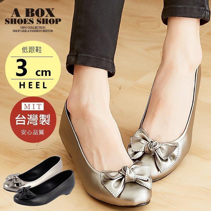 格子舖*【AN525】 OL 上班族 蝴蝶結 低跟 包鞋 3CM坡跟 娃娃鞋 台灣製MIT 2色