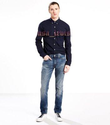 【高價鹿皮標新款26-42腰】美國 日本LEVI S 511 Slim CAVERN 重磅深藍腿紋養褲窄管小直筒牛仔褲