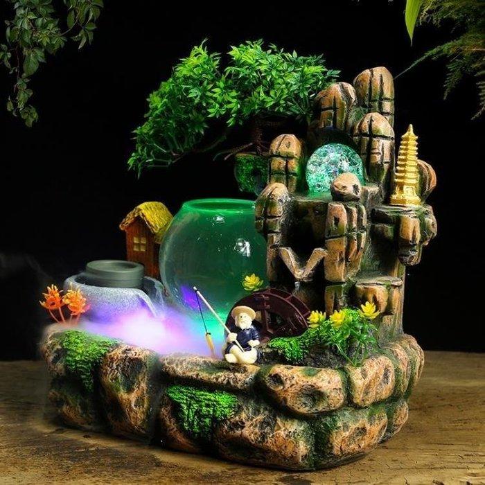 麥麥部落 魚缸客廳假山流水噴泉擺件家居裝飾品辦公室魚池加濕器招MB9D8