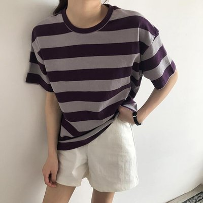 夏季韓國推薦條紋拼色寬版休閑圓領短袖T恤女裝T33310