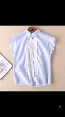 夏季新款 學院風 鏤空刺繡蕾絲花邊甜美顯瘦條紋上衣