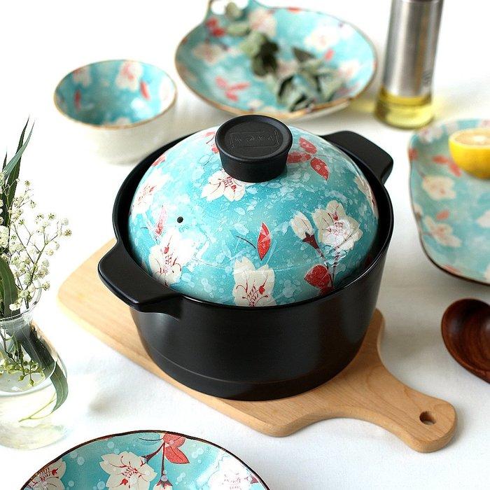 奇奇店-花季日式砂鍋雙層蓋耐高溫陶瓷湯鍋燉鍋煲粥煲湯鍋GJ-34#簡約 #輕奢 #格調