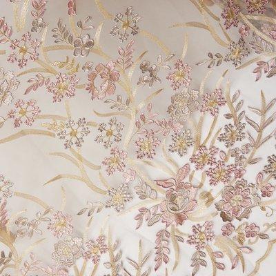 橙子的店 W203立體浮雕繡花金線刺繡大定位花軟網紗蕾絲布料服裝面料