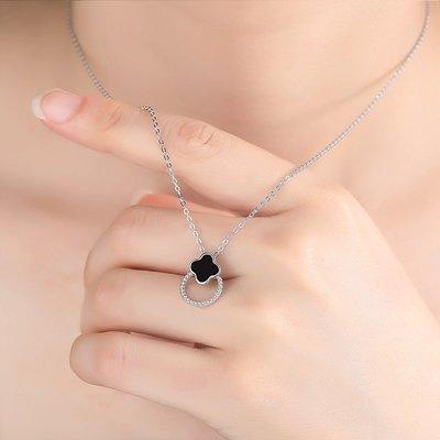 925純銀圓環項鏈女 時尚黑色吊墜生日鎖骨鏈子森系成人百搭鎖骨繩