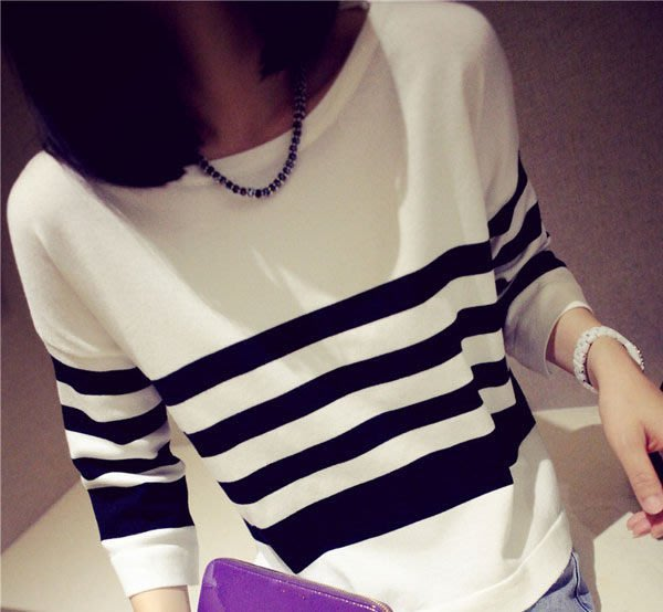條紋顯瘦針織衫寬鬆圓領長袖上衣 (A-373)