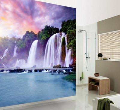 客製化壁貼 店面保障 編號F-039 瀑布風景 壁紙 牆貼 牆紙 壁畫 星瑞 shing ruei