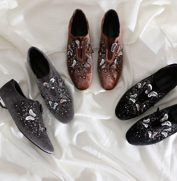 【鳳眼夫人】原創設計私人訂製款 3色 復古金絲絨星空水鑽3D金屬蝴蝶尖頭平底樂福鞋 金屬跟尖頭鞋平底鞋百搭懶人鞋休閒鞋