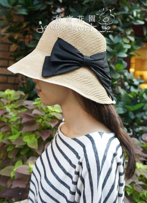 日本進口簡約蝴蝶結可摺疊遮陽帽/草帽/防曬遮陽抗UV/出國旅遊渡假/可折疊收納--秘密花園
