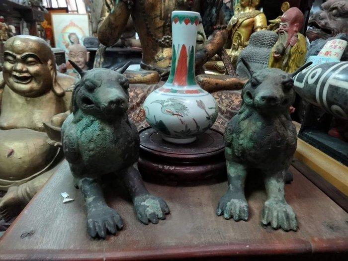 [御寶閣] 古董 文物 藝品 字畫 化石~老青銅 雕 吉祥獸 一對 青銅 老青銅 銅雕 貔貅 老銅雕