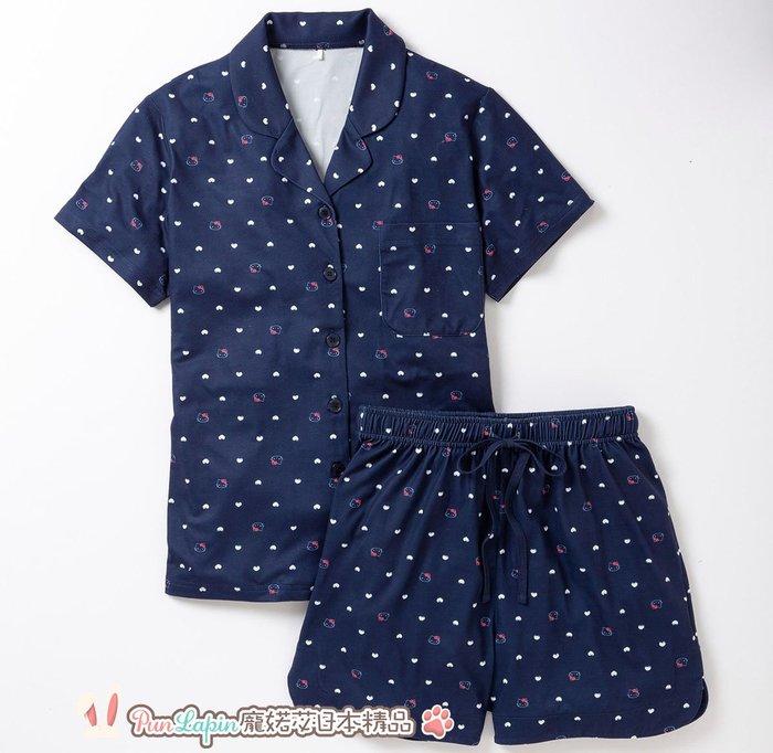 (現貨在台)日本正品Sanrio 三麗鷗 成套 睡衣組 短袖 短褲 休閒服飾 Hello kitty 凱蒂貓 深藍色