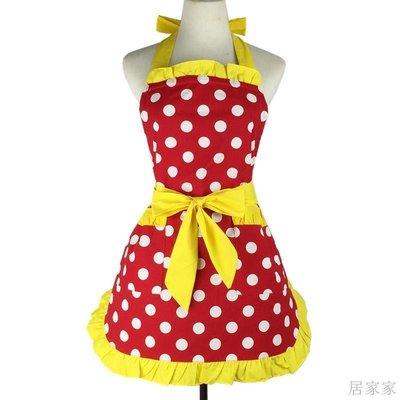 居家家 圍裙純棉圓點可愛家用清潔廚房做飯防污系帶圍裙帶口袋可訂製logo