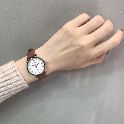 薇安手錶集市~手錶女學生正韓簡約休閒大氣復古羅馬數字石英男錶女錶防水情侶錶