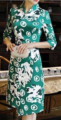 2017新款日常旗袍秋冬連身衣裙中長款女錦棉改良版中袖修身宴會禮服