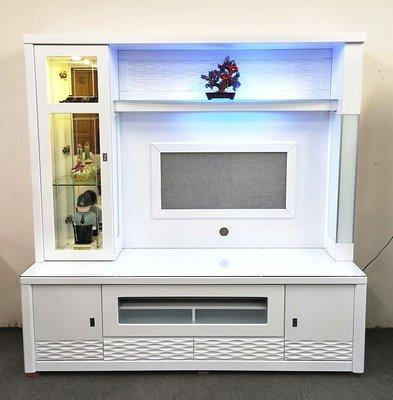 【名佳利家具生活館】藍光6.3尺高級烤亮白酒櫥(附面玻) 酒櫃 高低櫃 可拆買電視櫃 展示櫃 另有胡桃色 桃園區免運費