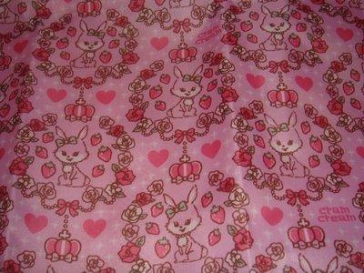*草莓園*出清日本帶回Cram Cream商品~容量超大草莓兔玫瑰蝴蝶結收納袋~