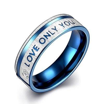鈦鋼戒指 鑲鑽美式戒飾-LOVE ONIY YOU英文刻字情人節生日禮物男飾品73le12[獨家進口][巴黎精品]