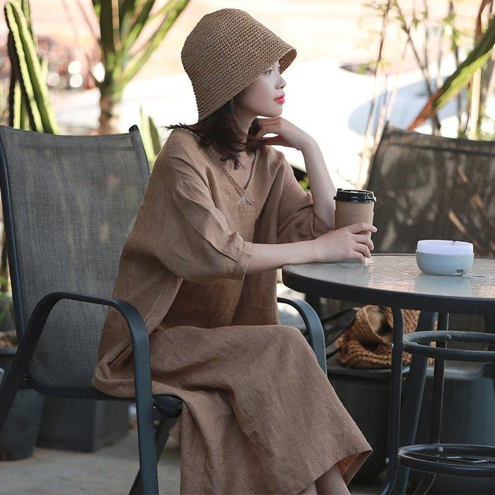 【鈷藍家】棉麻臆想 夏季新鼓聲定染色織亞麻袍子休閒V領刺繡線寬鬆中袖連身裙