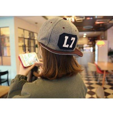 韓國代購running man宋智孝 L7字母 雙色翻簷俏捲邊毛呢鴨舌棒球帽 2件免運!