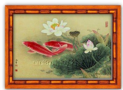 四方名畫:48X65CM富貴有魚004 九如圖 升級實木框  名家複製  質色彩細緻 裝飾畫MIT
