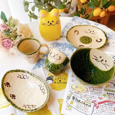(精品屋)日本進口大胃王木下系列瀨戶燒綠織部土物釉貓手工盤馬克杯碗